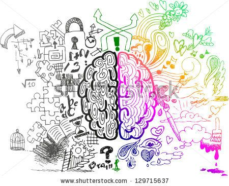 Brain sketchy doodles about the use of left and right hemispheres - stock vector