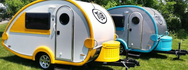 T@B Teardrop Trailers; Inspired by the classic teardrop camper trailer, the T@B takes teardrops to the next level. The T@B has done this by adding bright colors, standing room, sleek lines and many amenities. All of this was done while staying significantly below the 2000 lb threshold - something that no other similarly designed trailer has been able to do.