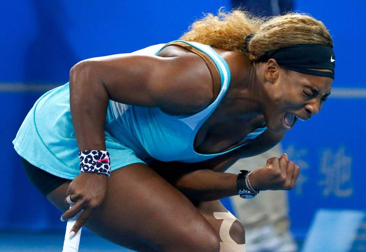 Serena Williams of the U.S. reacts after winning a point against Lucie Safarova of the Czech Republic during their women's singles match at the China Open tennis tournament in Beijing October 2, 2014. (REUTERS/Petar Kujundzic)