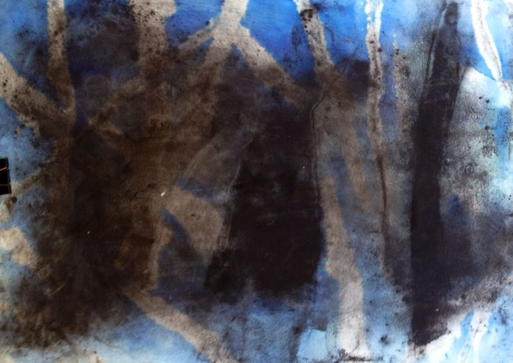 Abstraction. Carbon, bluo and bleach on paper.