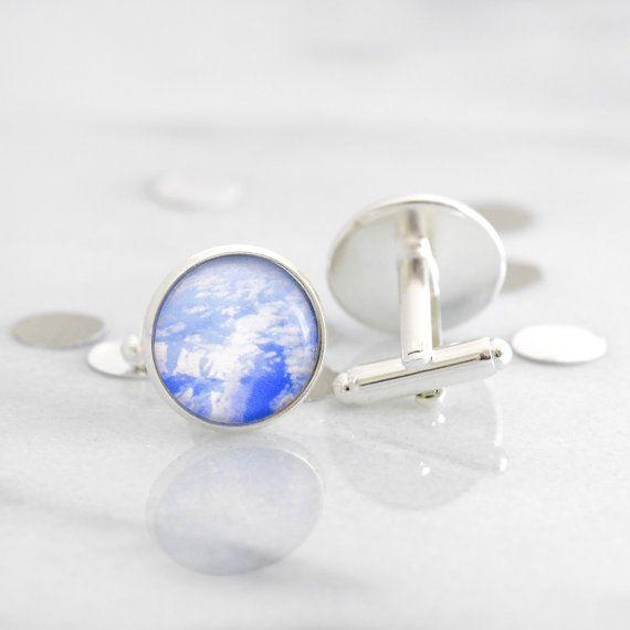 Mountain cufflinks - silver cufflinks featuring a miniature photography print of the Swiss Alps
