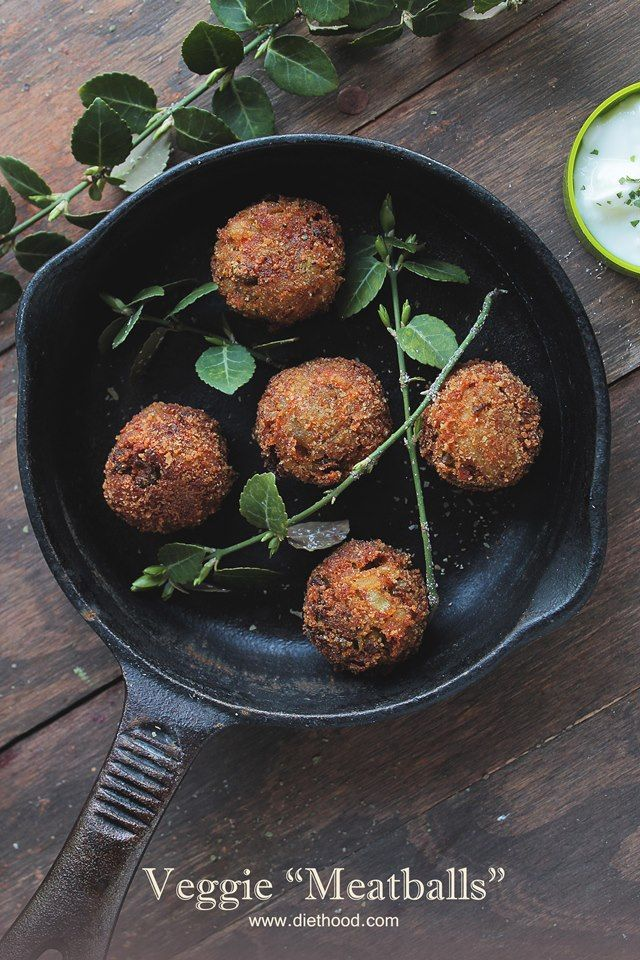 "Veggie Meatballs | www.diethood.com | Delicious ""meatballs"" made with veggies and spices 