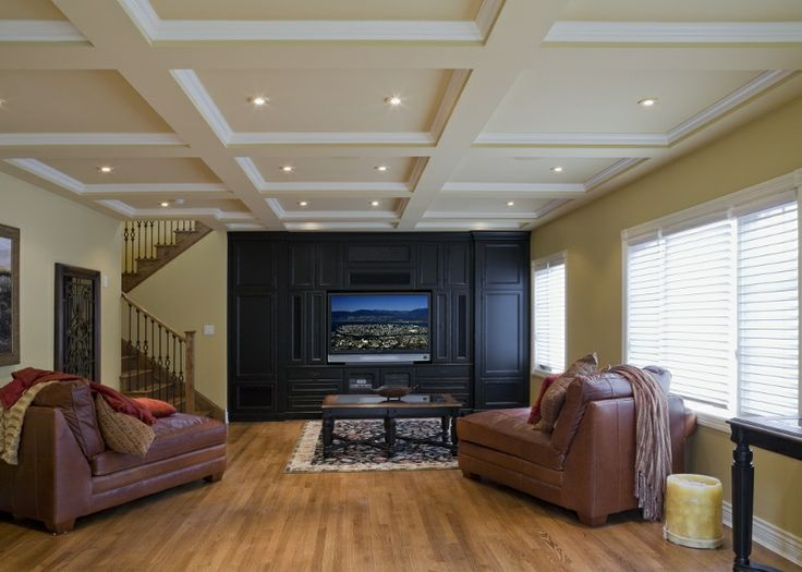 Coffered ceilings in the media room in South Surrey.  Spacious interior space for a optimal viewing experience.