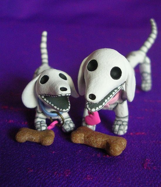 Day of the Dead Skeleton Dachshunds by claylindo, via Flickr