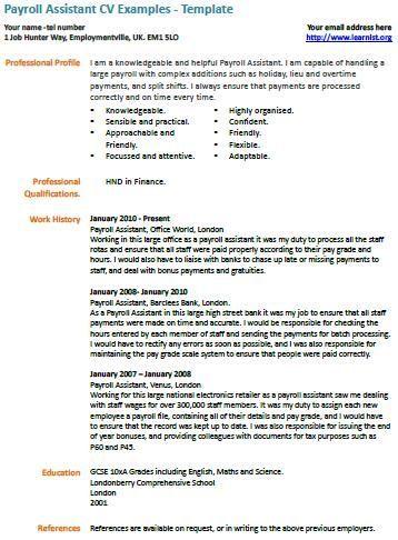 Payroll Assistant cv example cv examples Pinterest Cv examples