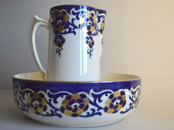 Antique French Ironstone Bathroom Set. French Faience Stencilware Royal Blue and Gold Wash Bowl and Jug. This wonderful vintage French ironstone jug