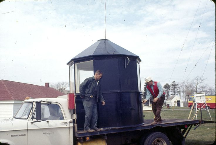 From the archives of Chatham Historical Society: Photograph taken May 1969. Loading the lantern room from Chatham Light on to the flatbed truck that moved it to the grounds of the Atwood House Museum, Chatham, MA. #atwoodhouse, #chathamhistoricalsociety, #chathamlight, #turret, #fresnel, #lighthouse, #chatham, #capecod