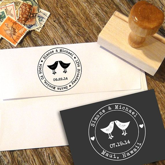Love Birds Address or Save the Date Stamp for Wedding Invitations with a typerwiter font and your date