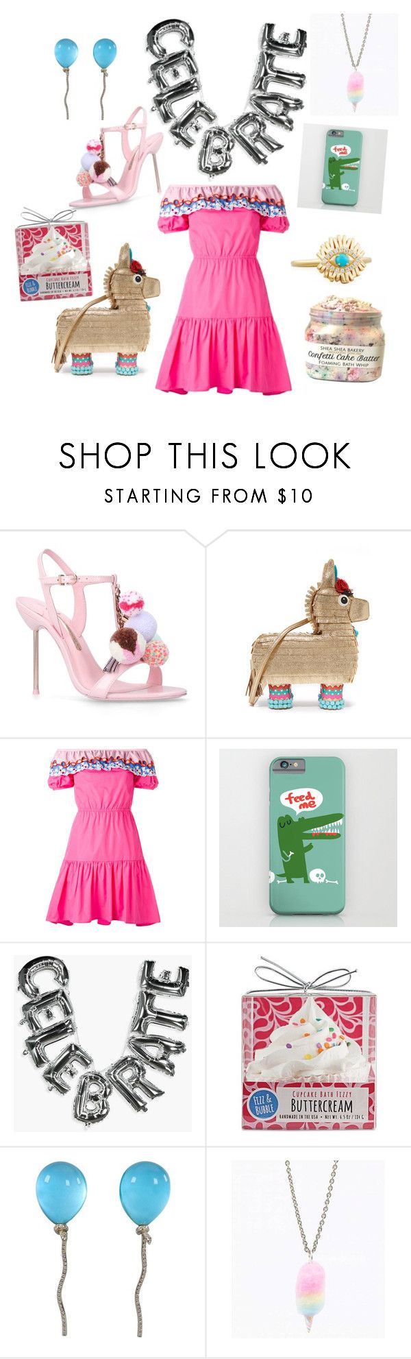 """""""A party pony named Pinky"""" by i-with-inner ❤ liked on Polyvore featuring Sophia Webster, Kate Spade, Peter Pilotto, Boohoo, Fizz & Bubble, Vhernier and Suzanne Kalan"""
