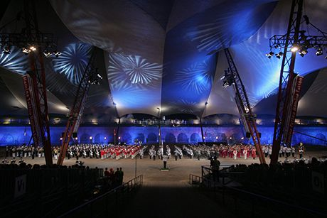 Hamina Tattoo culminates with the colourful March Shows in the historic Hamina Bastion event arena.