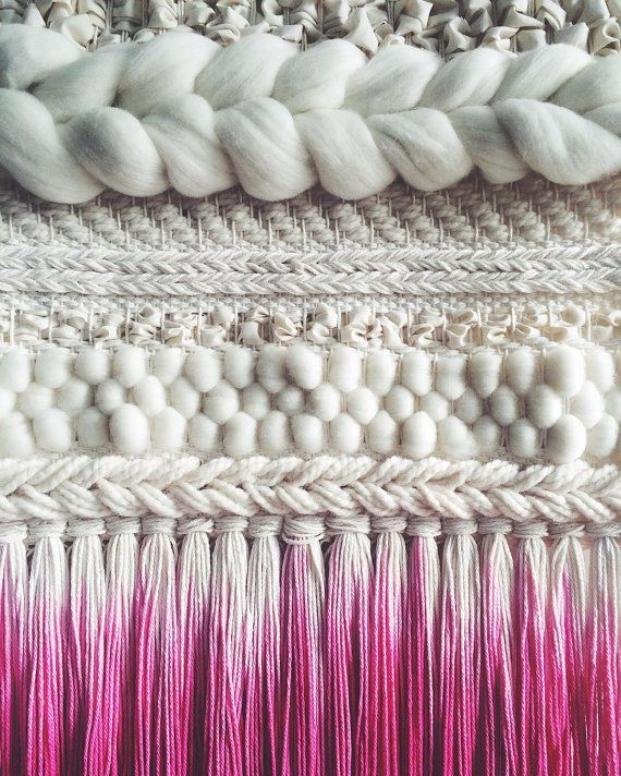 Woven Wall Hanging Pink Dip-dyed Weaving by UnrulyEdges on Etsy