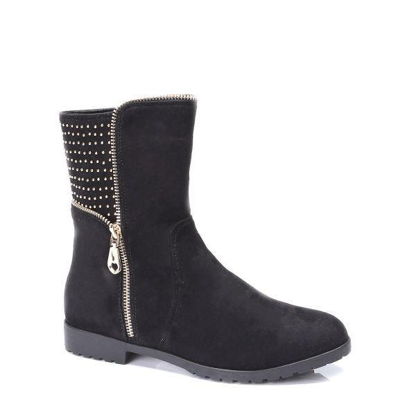New Women's Ankle Boots Black Low Heel Shoes Faux Suede Zip