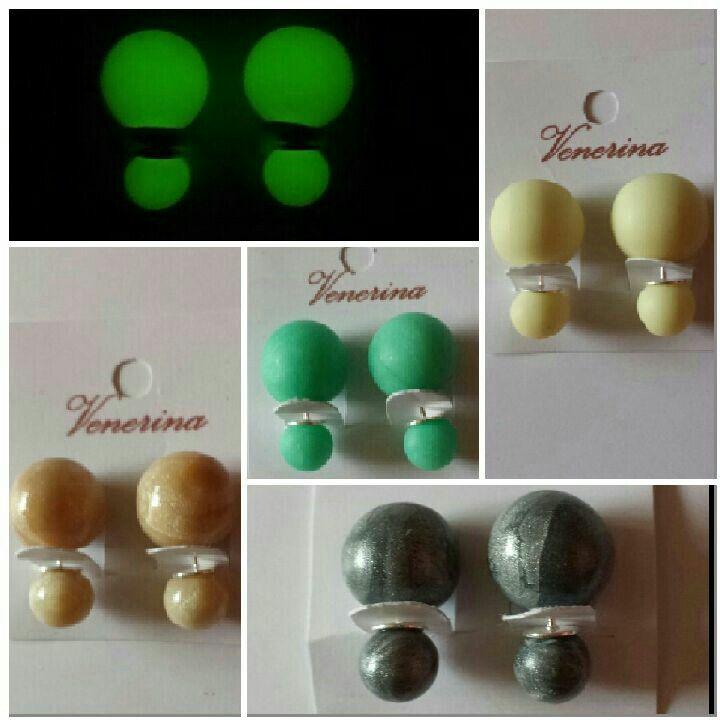 Double Dots oorbellen. Glow in the dark, mint, pearl en pearl zilver. Ook op www.venerina.com.