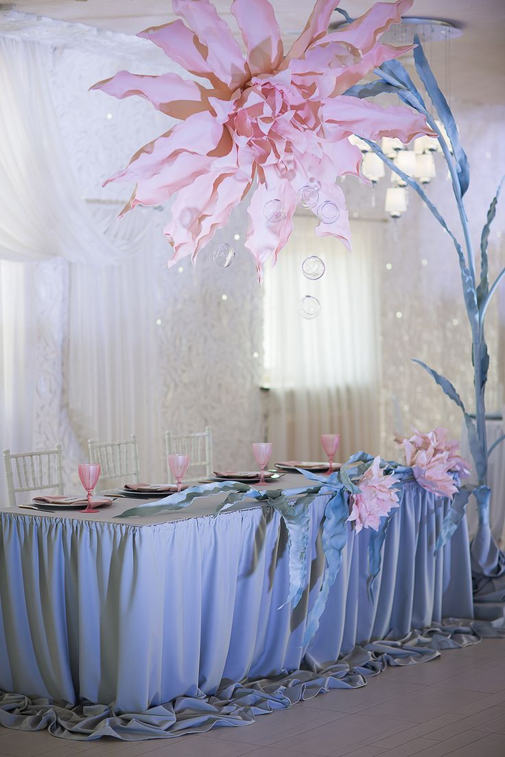 Photographer: Helen Shvaiko, magicphoto.by Wedding decor ideas, Pink Quartz by Victoria German Location: Robinson Club, Minsk, Belarus Pantone 2016 colors Rose Quartz Serenity inspiration