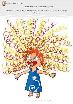 Atelier Graphisme MS Les boucles – Activité de Graphisme Maternelle Moyenne section sur les cheveux de boucle d'or. L'enfant rajoute la chevelure bouclée.