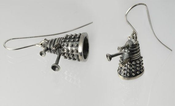 """Handmade silver earrings in shape of Dalek – inspired by the tv show Doctor  Who.   This is 925 sterling silver, 100% free from Nickel (Ni) so if you are nickel allergic you will not react to this.   The surface is treated with oxide for a """"greyish"""" look."""