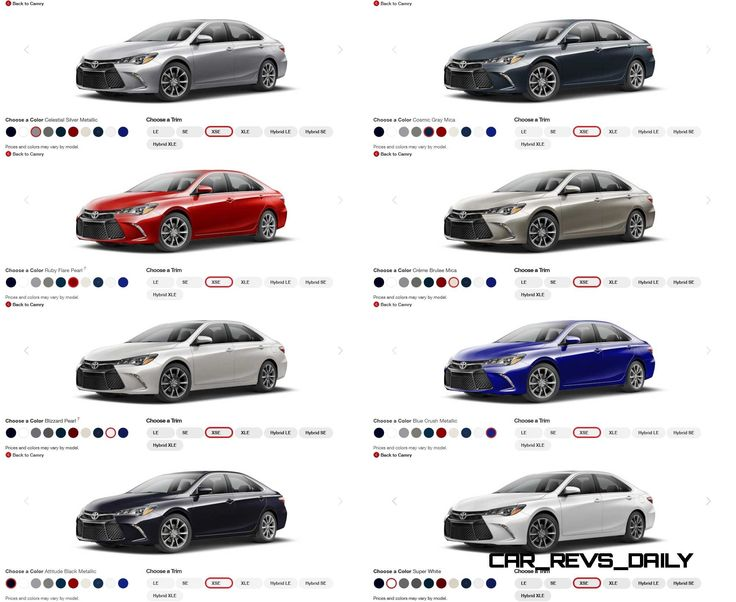 2015 toyota camry colors and trims visual buyers guide 2015 toyota camry toyota camry and. Black Bedroom Furniture Sets. Home Design Ideas