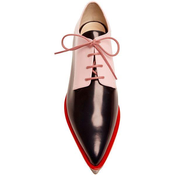Milk Pink And Indigo Derby Platform Shoe | Moda Operandi ❤ liked on Polyvore featuring shoes, oxfords, lace up oxfords, platform oxfords, laced shoes, flatform oxfords and laced up shoes
