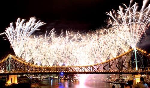 Story Bridge lit up with fireworks   Brisbane Australia