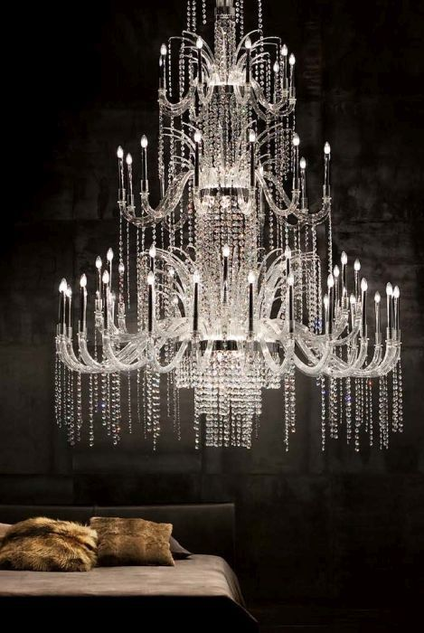 This is the spectacular 3 metre-tall Ice Murano glass chandelier from De Majo. If there were a competition to design a chandelier that looked like an ice palace in a fairy tale, this would be the winner. But at the same time, it is grown-up and elegant, and belongs in a glittering ballroom, or a grand hotel. Divine!  http://www.italian-lighting-centre.co.uk/large-murano-glass-chandeliers/light-murano-cristallo-chandelier-from-majo-p-8238.html