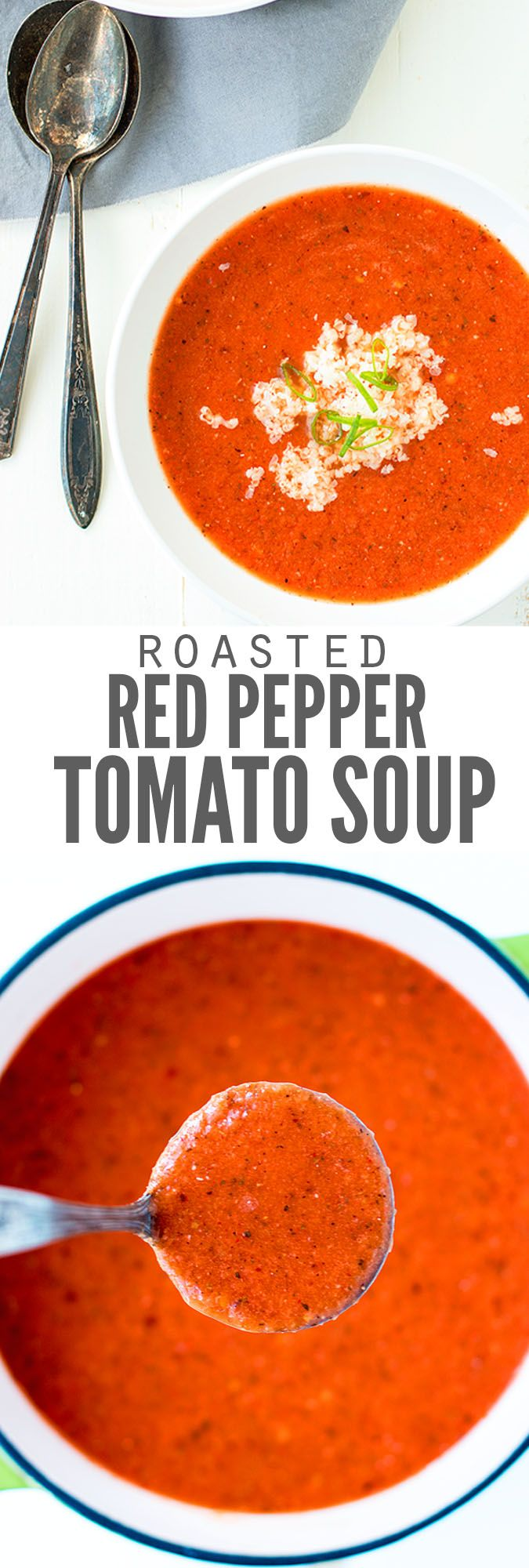 Creamy roasted red pepper and tomato soup recipe from scratch is better than Trader Joe's, Pacific and any tomato bisque. Ready in minutes & kids love it! :: DontWastetheCrumbs.com