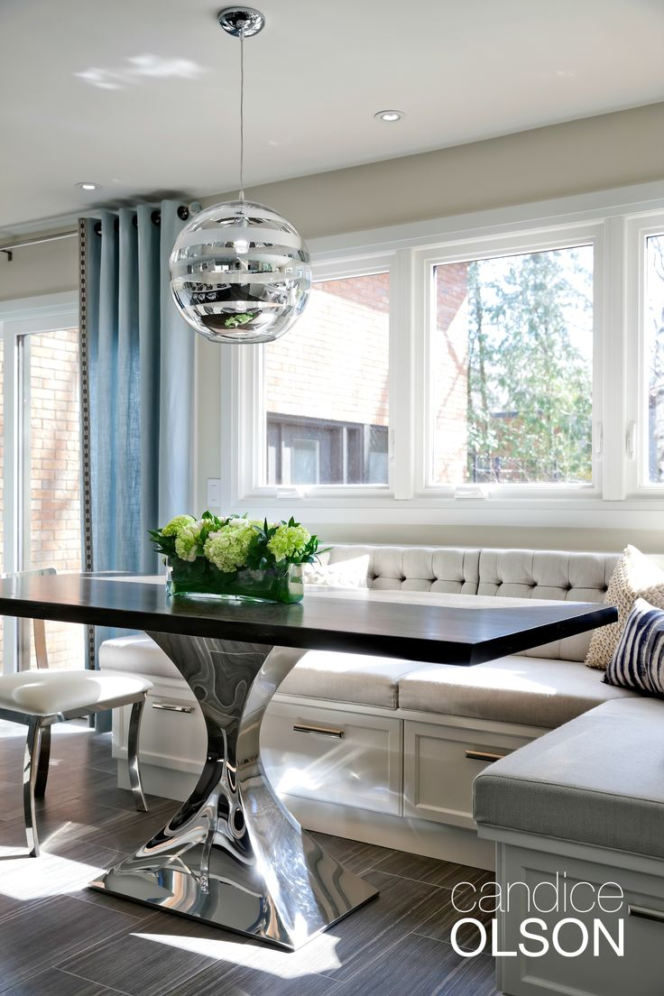 The challenge: create seating for groups within a small space.  My solution:  banquette seating!  #candiceolson