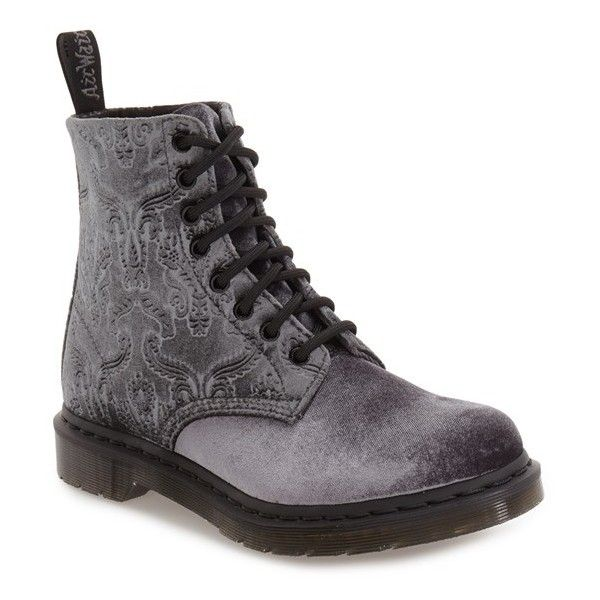 Women's Dr. Martens 'Pascal' Hiking Boot ($125) ❤ liked on Polyvore featuring shoes, boots, grey velvet, gray boots, gray hiking boots, velvet shoes, gray shoes and dr martens footwear