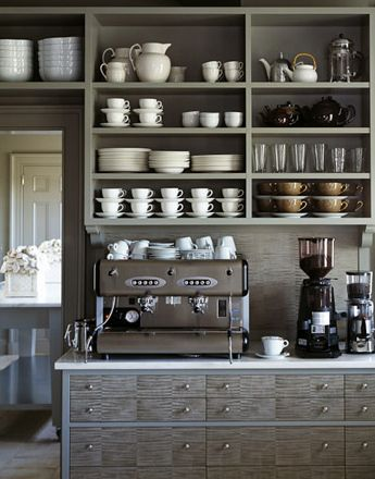 Open shelving in a home coffee bar. This would help really make the coffee bar feel like a distinctly different area of the kitchen. Could also work well in a butlers pantry / coffee bar area.