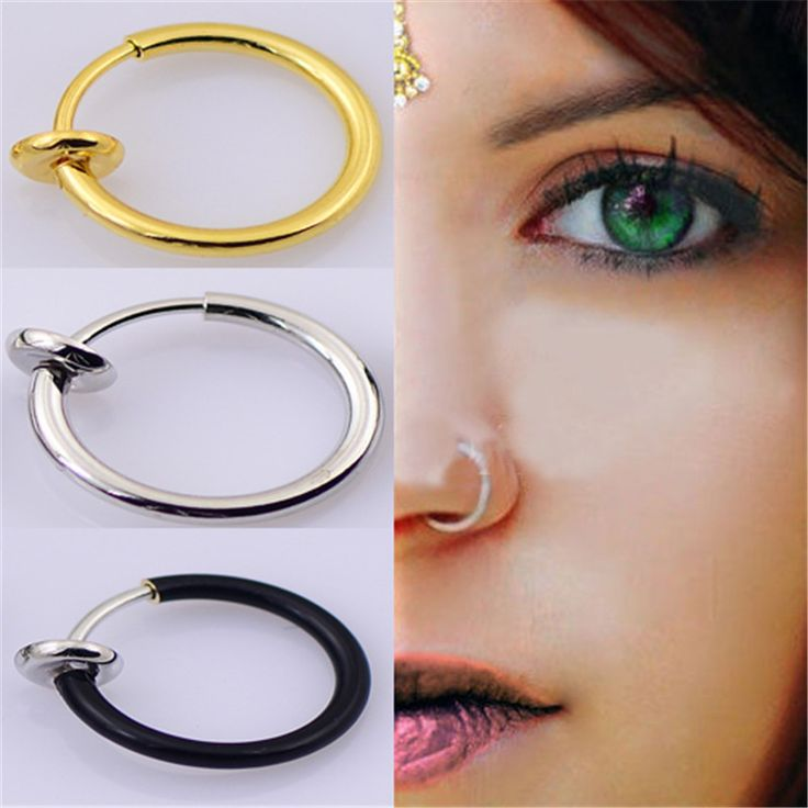 3PCS/Set New Clip On Fake Nose Hoop Ring Ear Septum Lip Navel Earrings Body Non Piercing Black Jewelry  CC065