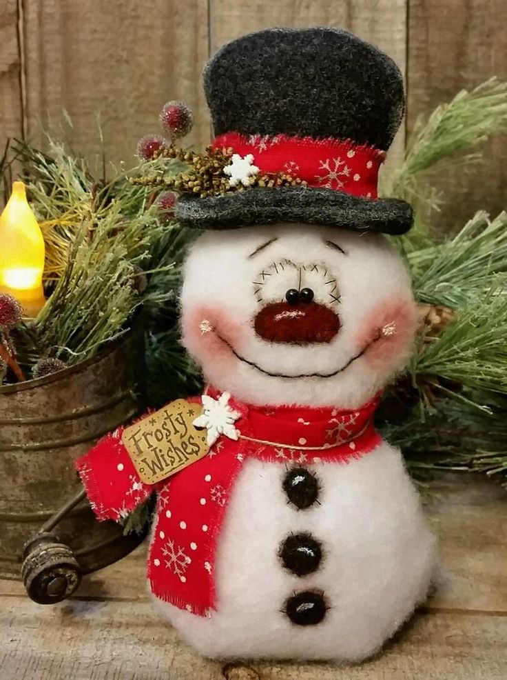 "Primitive Handmade Winter Christmas Valentine 8"" Snowman Doll Decoration #JeaneenNasonSpringCreekPrims"