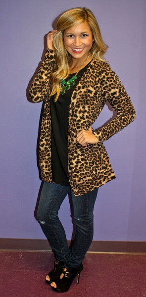 leopard cardi with a statement necklace
