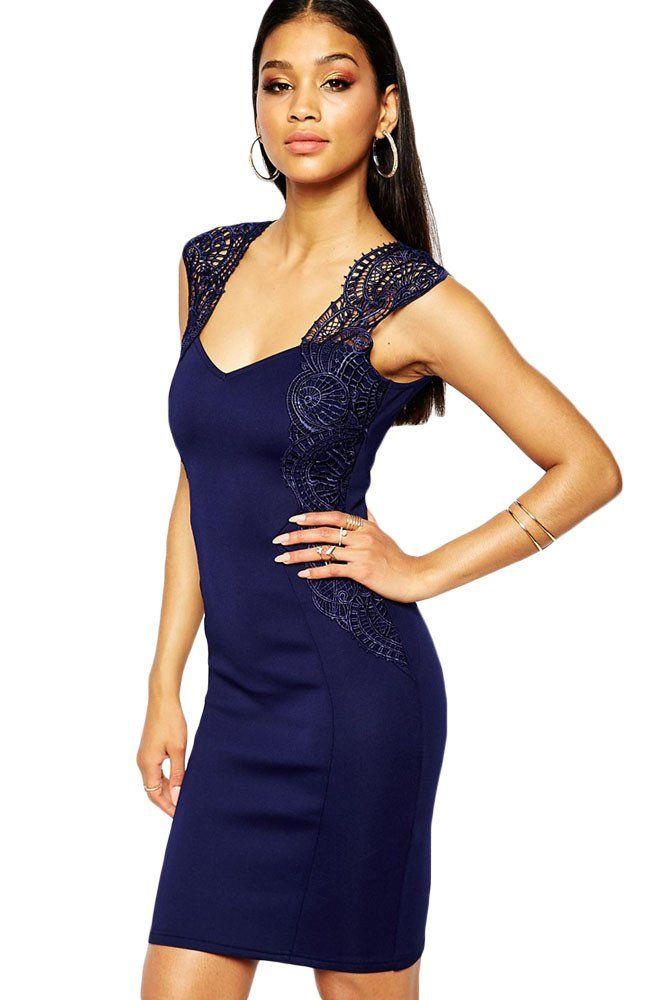 Shop Lipsy Bodycon Dress With Lace Applique Shoulder at ASOS.