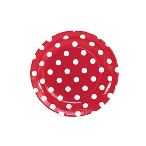 Let's Party With Balloons - Sambellina Red with White Polka Dots Cake Plates, $8.00 (http://www.letspartywithballoons.com.au/red-with-white-polka-dots-cake-plates/?page_context=category