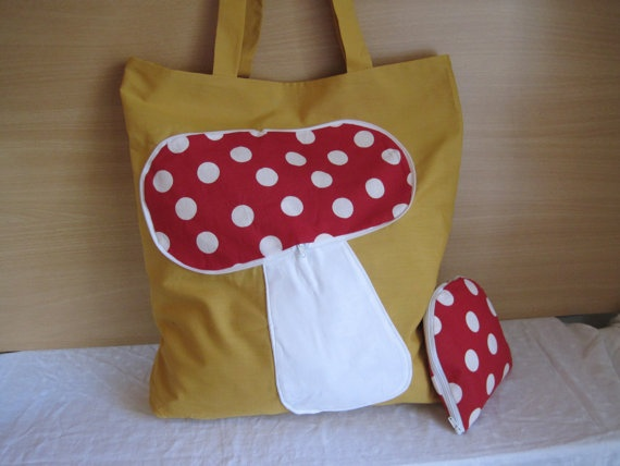 Mushroom Bag Zipaway reusable shopping bag by NewLifeBags on Etsy