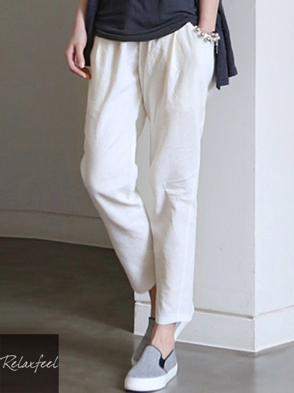 Relaxfeel Women's Loose Plus Size Ankle-Length Pants Elastic Waist Cotton Trousers - New In