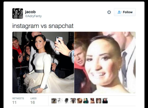 Demi and Poot Lovato. | 17 Things That Perfectly Sum Up You On Snapchat Vs. Instagram