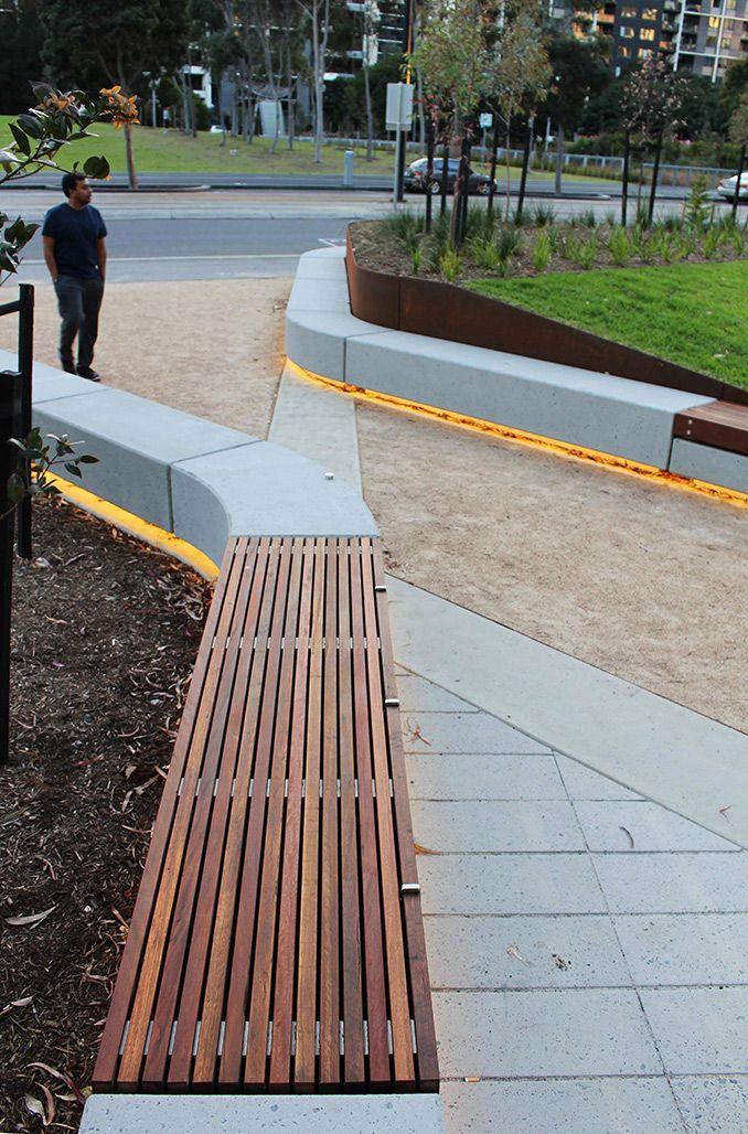 CLEC Site Docklands Park – Stage 2 | Melbourne, Australia | MALA Studio #park #landscapearchitecture #corten #edge #seat #bench #concrete #LED #lights #night
