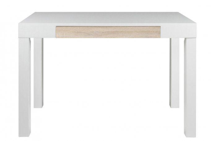 Biurko białe, lakierowane z dębową szufladą 0000049184 - Sanit-Express™