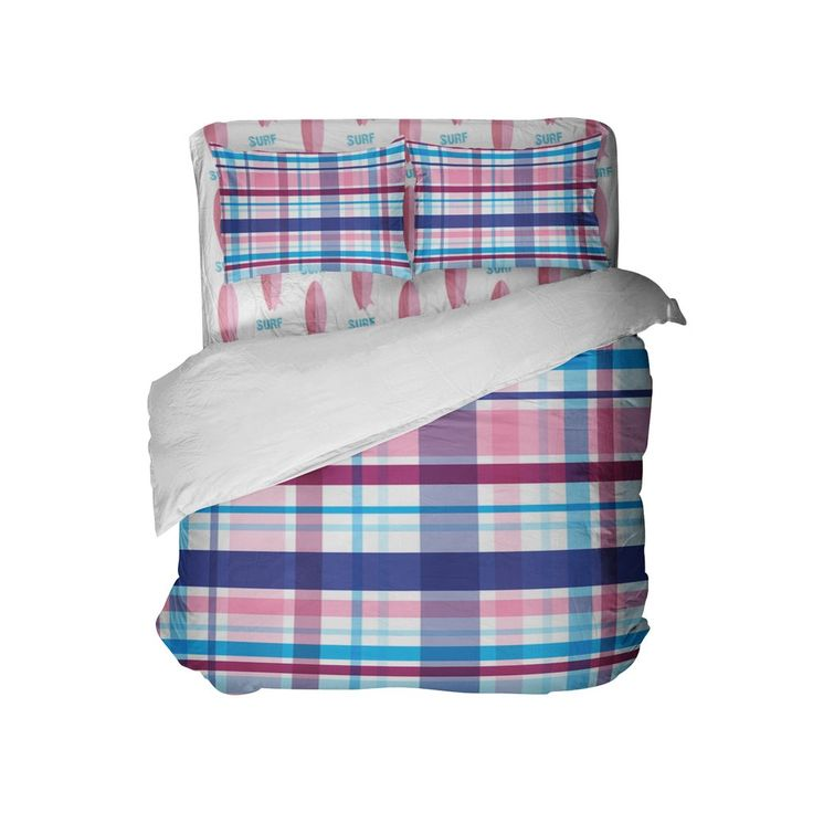 Preppy Surfer Girl Plaid Comforter Set from Kids Bedding Company