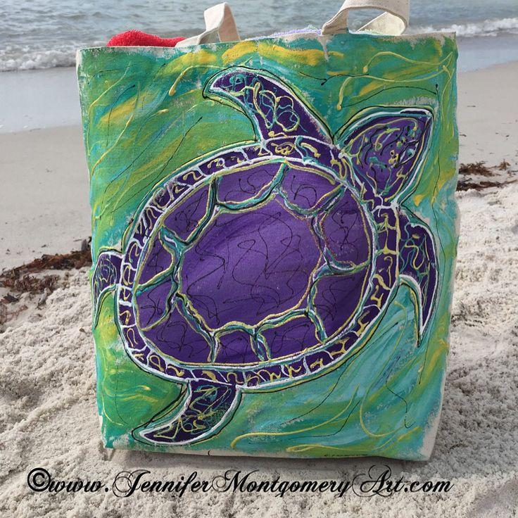 Sea Turtle Hand Painted Canvas Bag $42 www.jennifermontgomeryart.com
