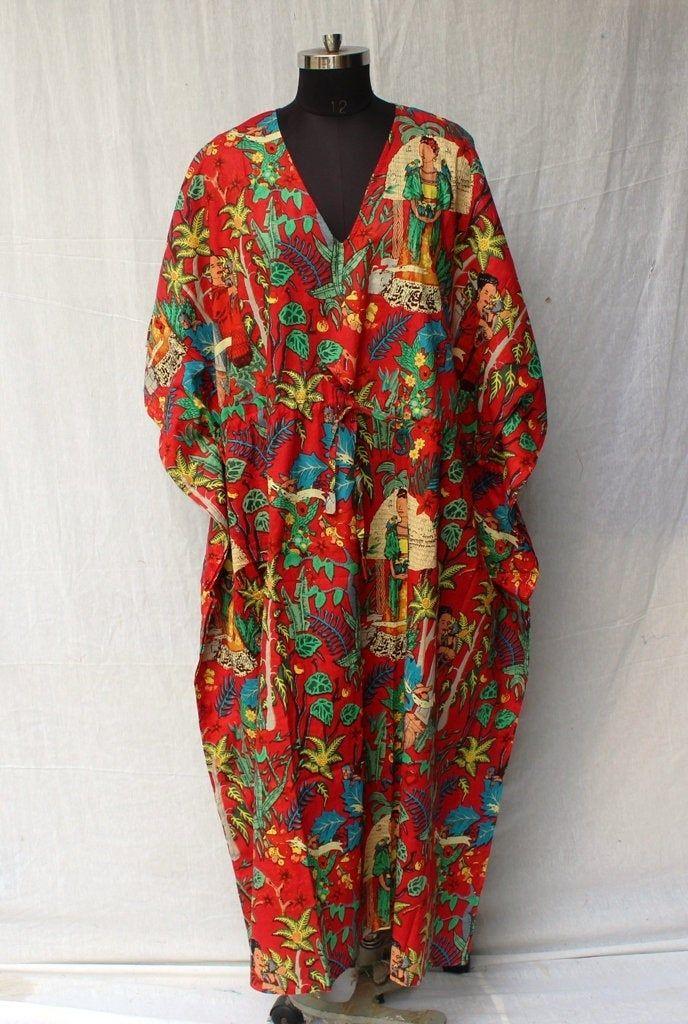 Plus Size Ethnic Paisley Floral Summer Print Drawstring Batwing Sleeve Kaftan Pink