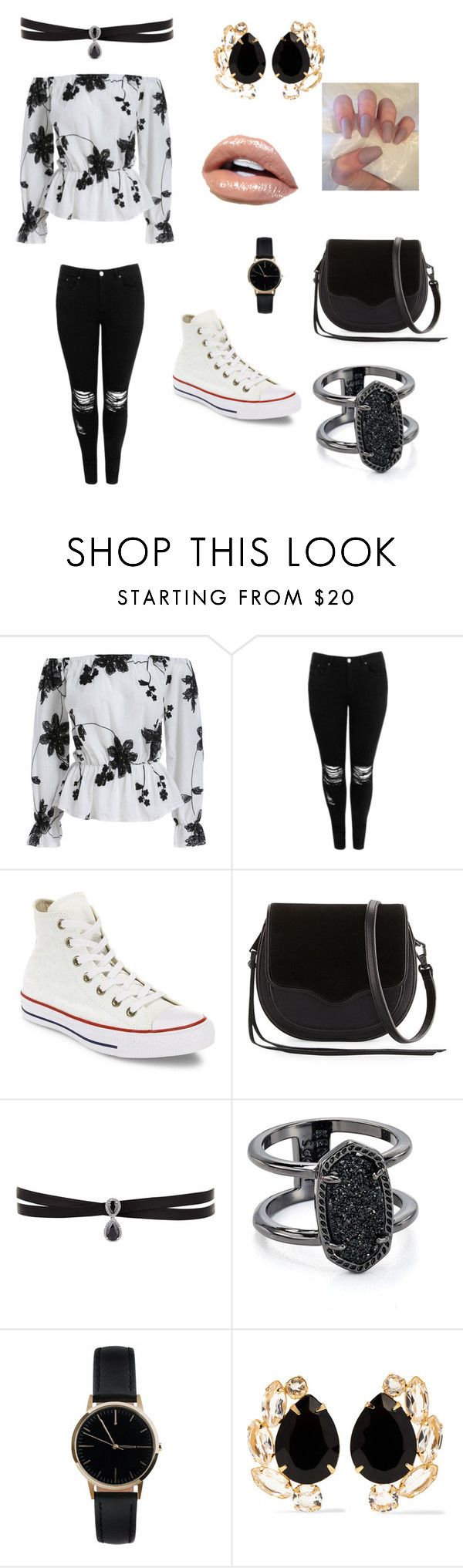"""casual"" by arisofia on Polyvore featuring moda, Boohoo, Converse, Rebecca Minkoff, Fallon, Kendra Scott, Freedom To Exist y Bounkit"