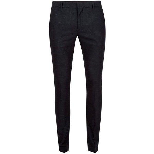 TOPMAN Navy Fleck Ultra Skinny Suit Trousers (205 BRL) ❤ liked on Polyvore featuring men's fashion, men's clothing, men's pants, men's dress pants, navy, old navy mens pants, mens zipper pants, mens skinny pants, mens navy dress pants and mens zip off pants