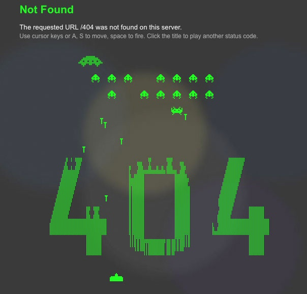 Broken links and missing files lead to the best 404 error page ever - SpaceInvaders