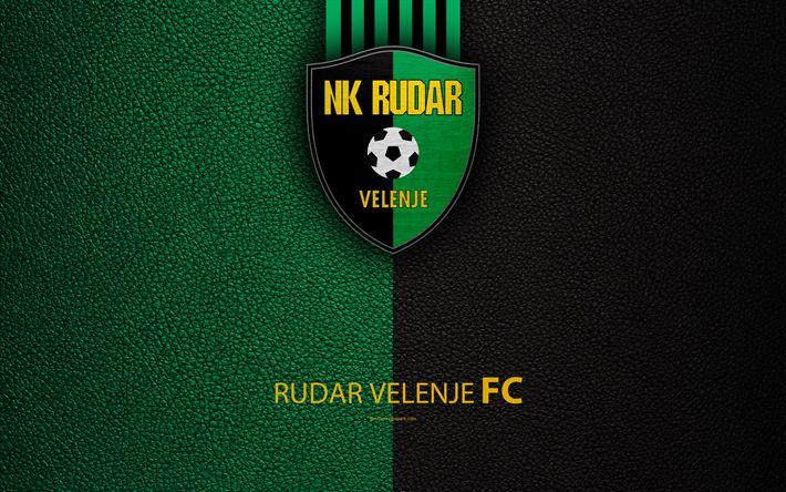 Download wallpapers NK Rudar Velenje, 4k, Slovenian football club, emblem, leather texture, PrvaLiga, Velenje, Slovenia, Slovenian First Football League, football