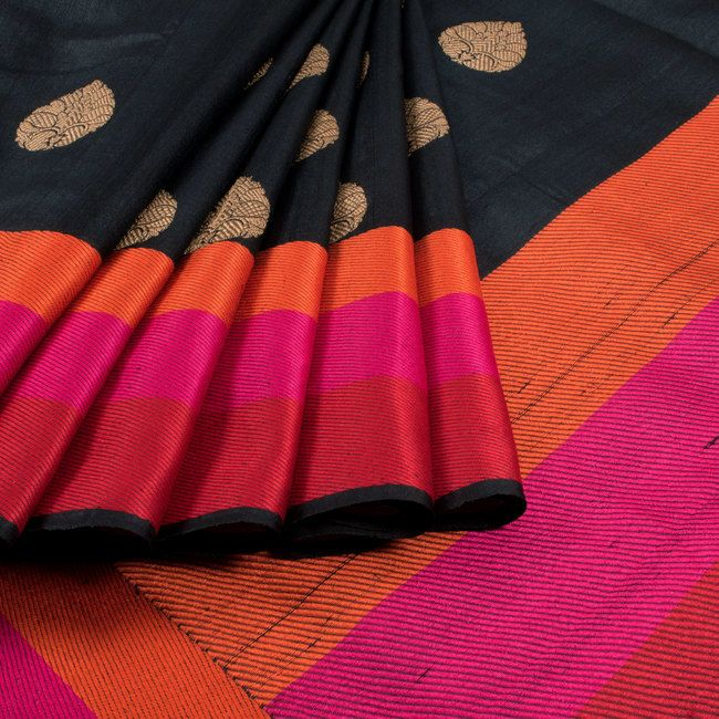 Shivangi Kasliwaal Black Handwoven Banarasi Tussar Silk Sari with Multi Colour Striped Border 10003027 - AVISHYA