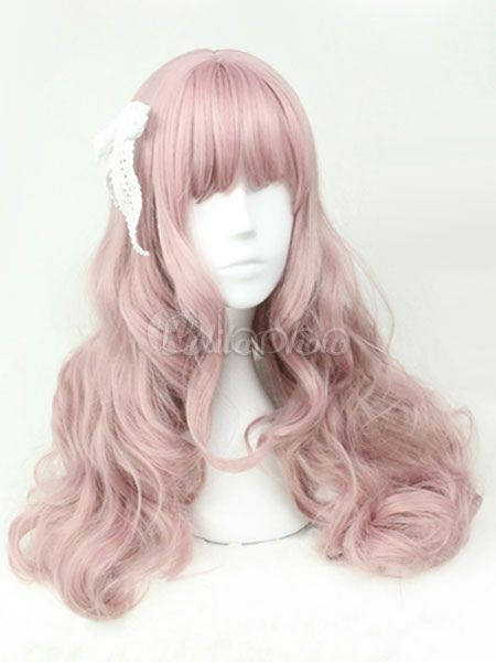 Sweet Lolita Wigs Soft Pink Long Curly Lolita Hair Wigs With Blunt Bangs