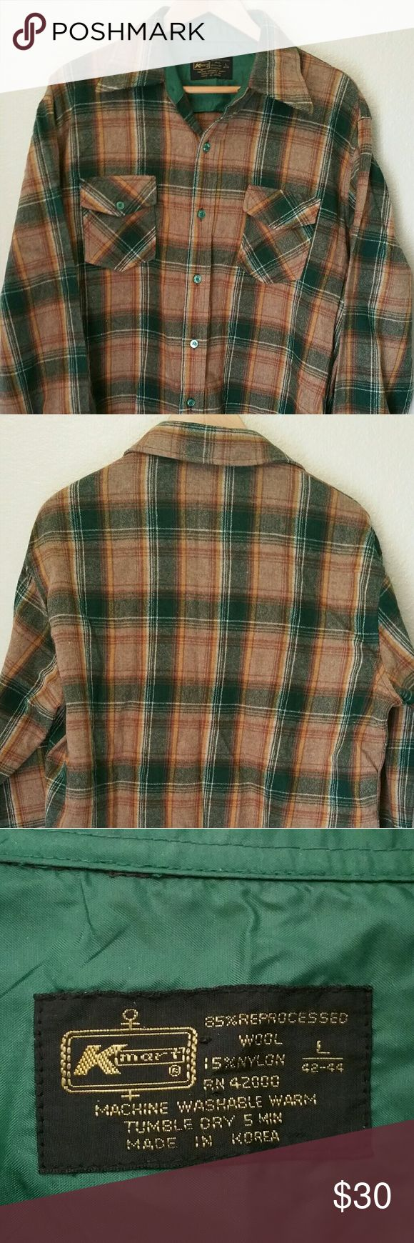 Vintage Men's Wool Kmart Shirt L This green and brown plaid shirt is from the 1960's.  It is in excellent condition with not stains, holes or rips.  It's is sized large, but measurements can be provided if needed. Thank you for looking and happy shopping! Kmart Shirts Casual Button Down Shirts