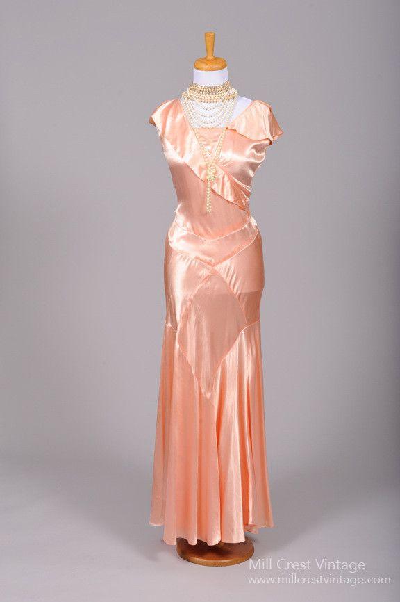 1930 salmon slipper satin vintage wedding gown crests for Slipper satin wedding dress