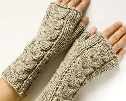 Ravelry: Cabled Fingerless Mittens pattern by Sarah Cooke